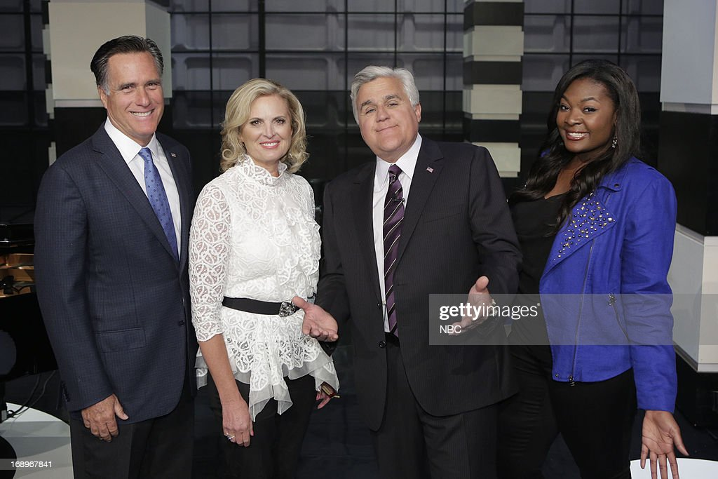 LENO -- (EXCLUSIVE COVERAGE) -- Episode 4464 -- Pictured: (l-r) Former governor Mitt Romney, Ann Romney, host Jay Leno and American Idol winner Candice Glover on May 17, 2013 --
