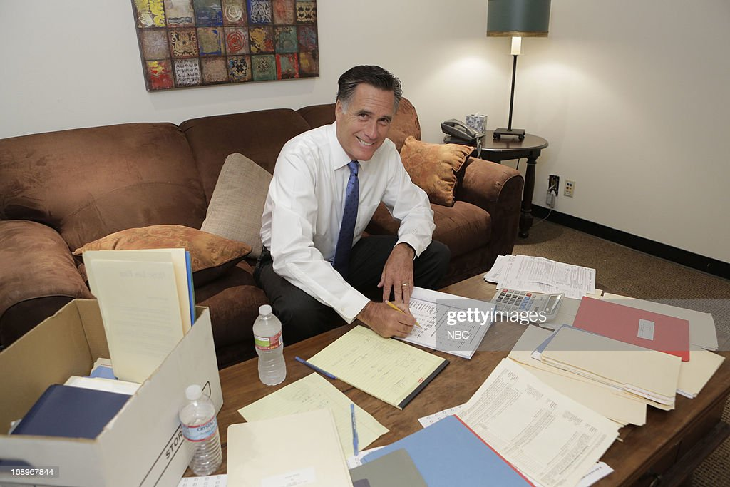 LENO -- (EXCLUSIVE COVERAGE) -- Episode 4464 -- Pictured: Former governor Mitt Romney backstage on May 17, 2013 --
