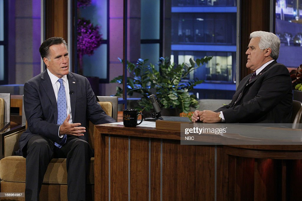 Former governor Mitt Romney during an interview with host Jay Leno on May 17, 2013 --