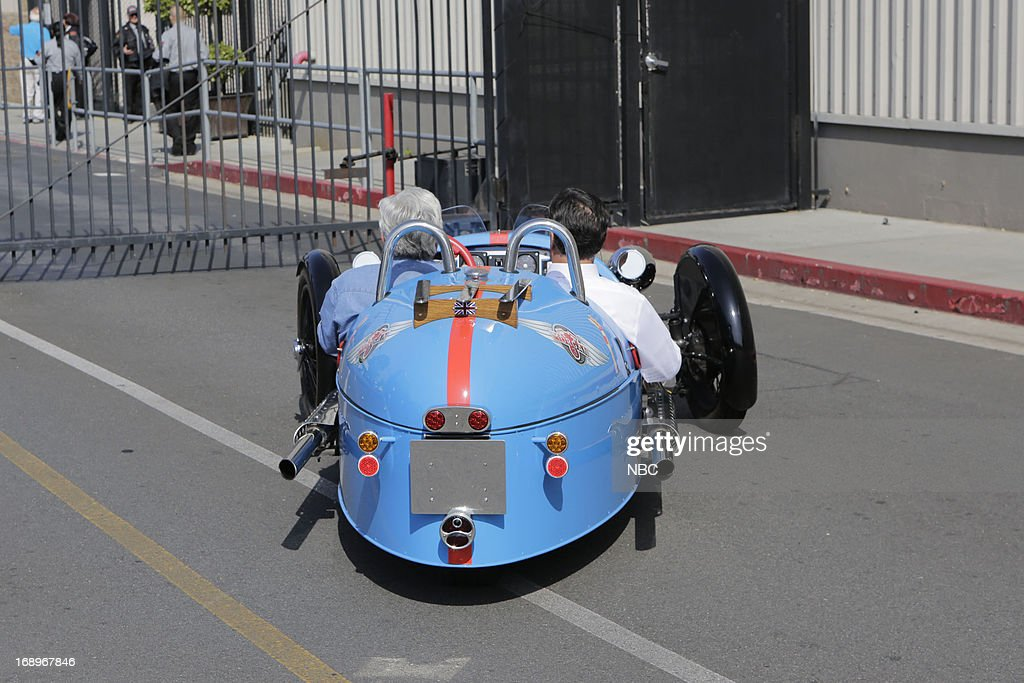 LENO -- (EXCLUSIVE COVERAGE) -- Episode 4464 -- Pictured: (l-r) Host Jay Leno and fomer governor Mitt Romney take a drive after a taping on May 17, 2013 --