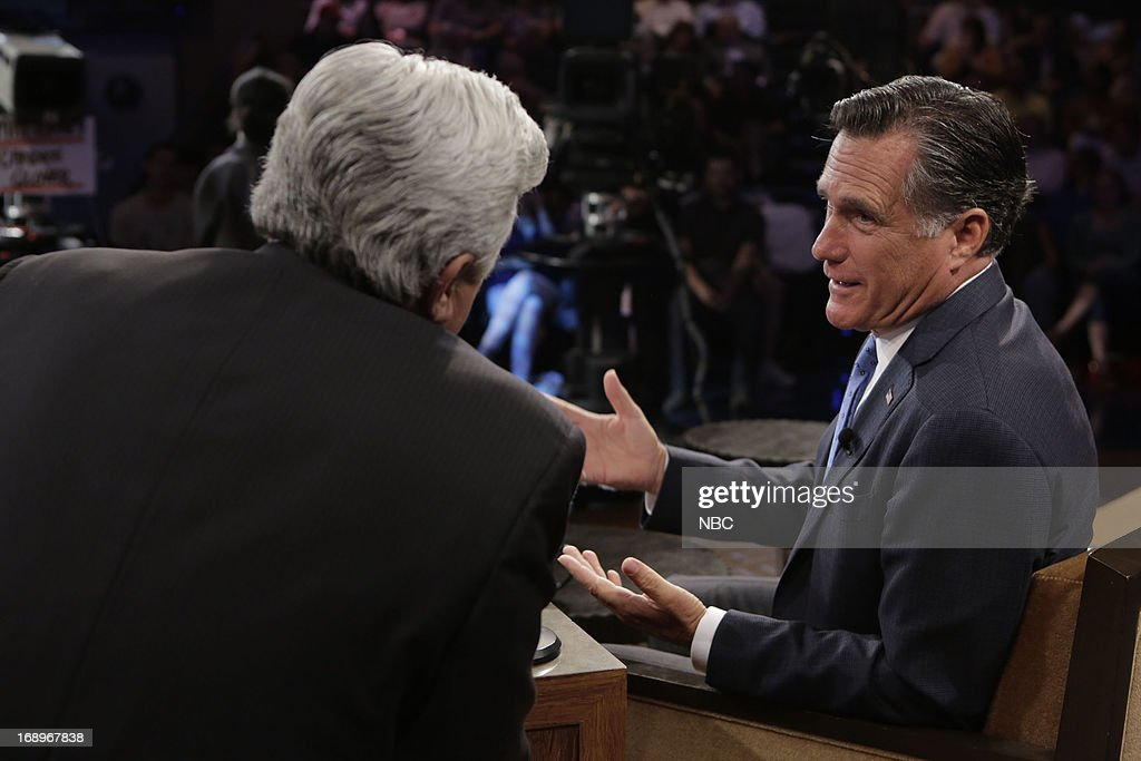 LENO -- (EXCLUSIVE COVERAGE) -- Episode 4464 -- Pictured: (l-r) Host Jay Leno talks with former governor <a gi-track='captionPersonalityLinkClicked' href=/galleries/search?phrase=Mitt+Romney&family=editorial&specificpeople=207106 ng-click='$event.stopPropagation()'>Mitt Romney</a> on May 17, 2013 --