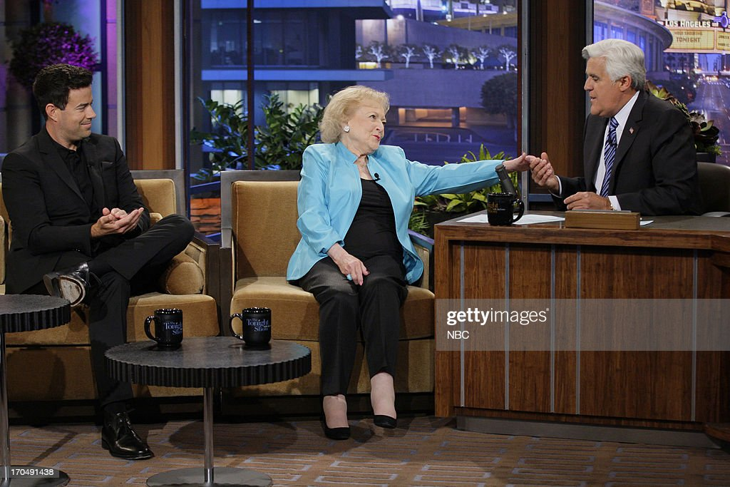 Actress <a gi-track='captionPersonalityLinkClicked' href=/galleries/search?phrase=Betty+White&family=editorial&specificpeople=213602 ng-click='$event.stopPropagation()'>Betty White</a> during an interview with host Jay Leno on June 13, 2013 --