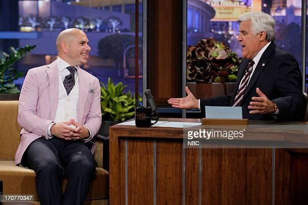 Musical guest Pitbull during an interview with host Jay Leno on June 17 2013