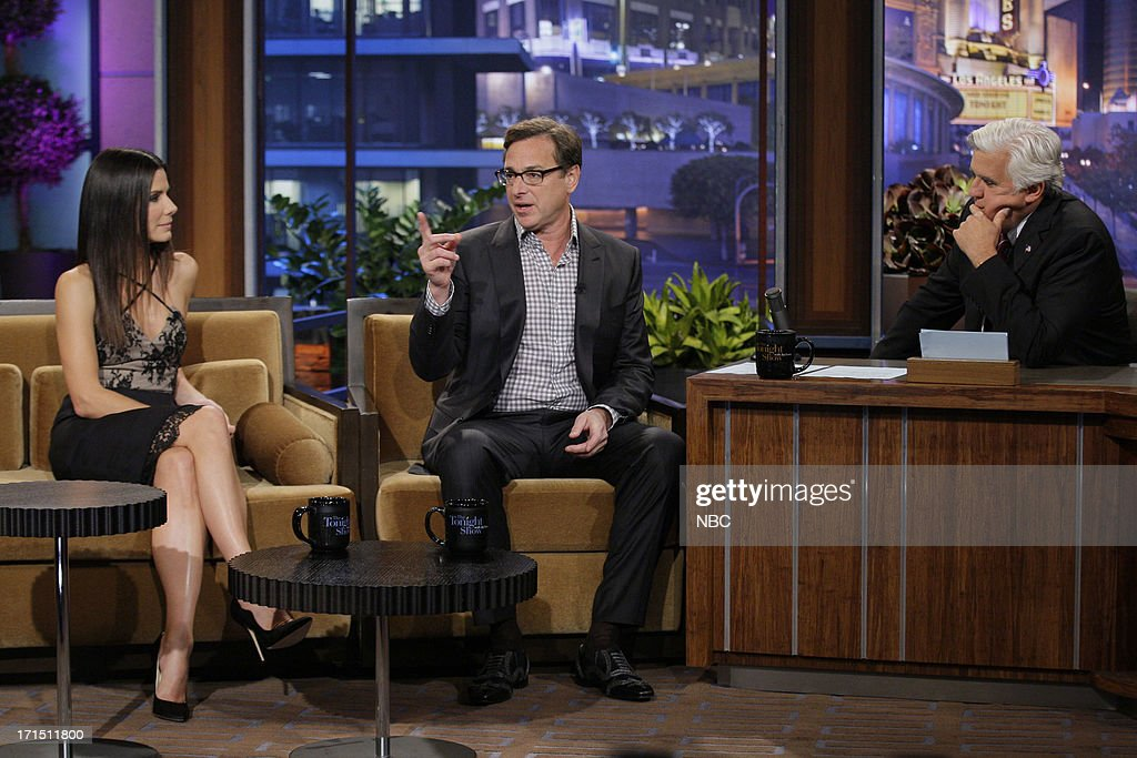 Actress Sandra Bullock and comedian Bob Saget during an interview with host Jay Leno on June 25, 2013 --