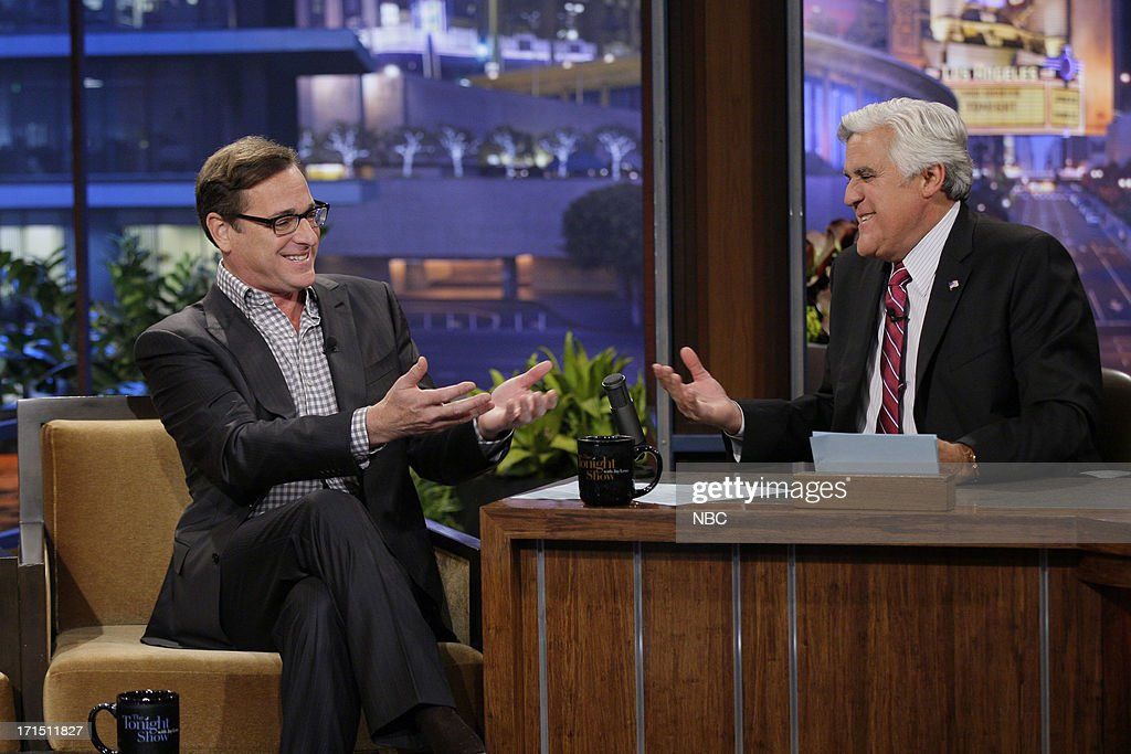 Comedian <a gi-track='captionPersonalityLinkClicked' href=/galleries/search?phrase=Bob+Saget&family=editorial&specificpeople=209388 ng-click='$event.stopPropagation()'>Bob Saget</a> during an interview with host Jay Leno on June 25, 2013 --