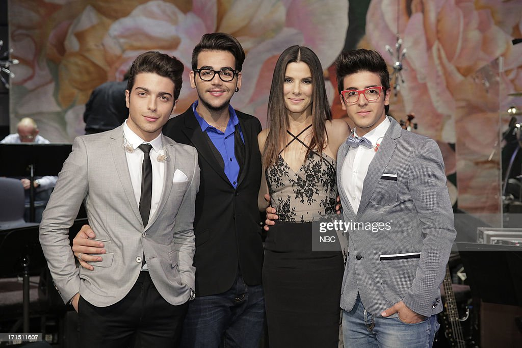 LENO -- (EXCLUSIVE COVERAGE) -- Episode 4486 -- Pictured: (l-r) <a gi-track='captionPersonalityLinkClicked' href=/galleries/search?phrase=Ignazio+Boschetto&family=editorial&specificpeople=5945023 ng-click='$event.stopPropagation()'>Ignazio Boschetto</a>, <a gi-track='captionPersonalityLinkClicked' href=/galleries/search?phrase=Piero+Barone&family=editorial&specificpeople=5945024 ng-click='$event.stopPropagation()'>Piero Barone</a>, actress <a gi-track='captionPersonalityLinkClicked' href=/galleries/search?phrase=Sandra+Bullock&family=editorial&specificpeople=202248 ng-click='$event.stopPropagation()'>Sandra Bullock</a> and Gianluca Ginoble on June 25, 2013 --