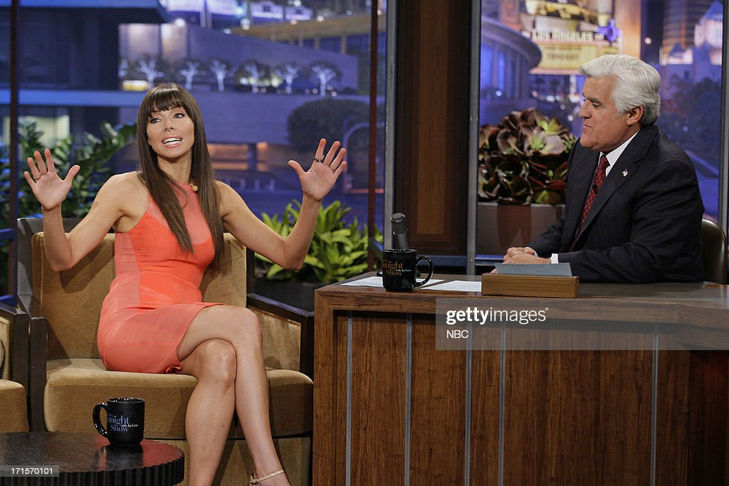 Comedian Whitney Cummings during an interview with host Jay Leno on June 26, 2013 --