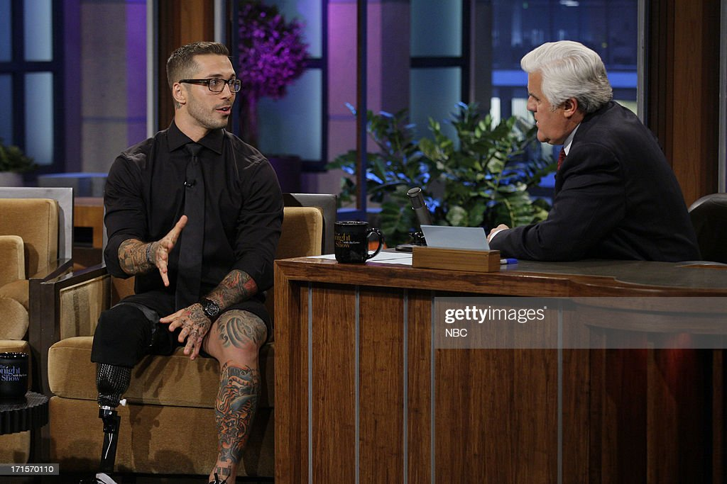 Former Marine turned underwear model Alex Minsky during an interview with host Jay Leno on June 26, 2013 --