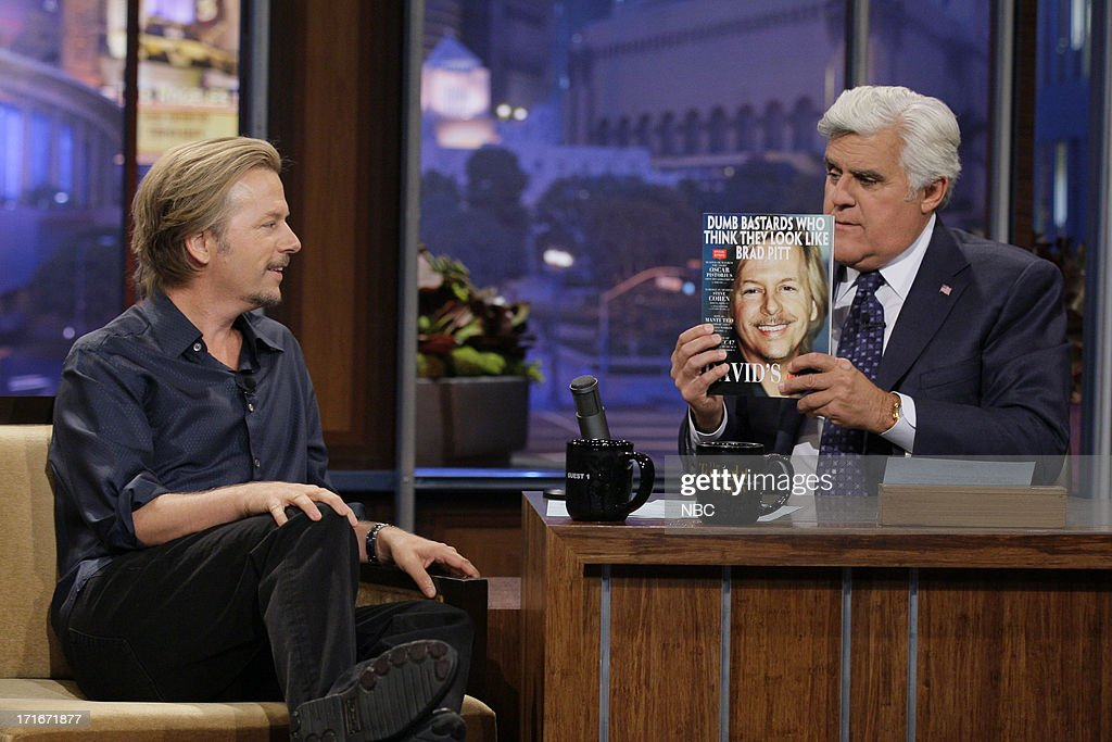Actor <a gi-track='captionPersonalityLinkClicked' href=/galleries/search?phrase=David+Spade&family=editorial&specificpeople=209074 ng-click='$event.stopPropagation()'>David Spade</a> during an interview with host Jay Leno on June 27, 2013 --