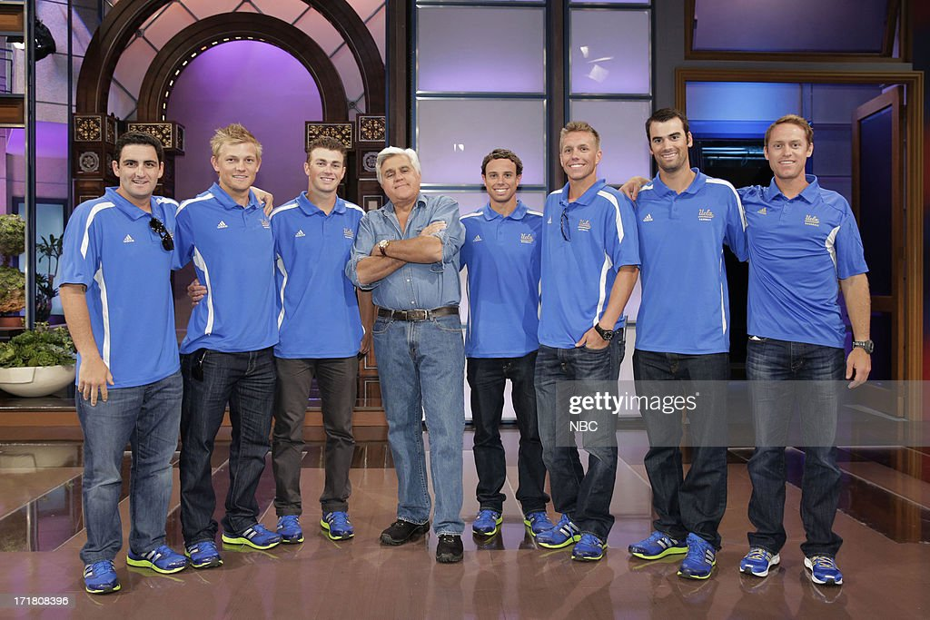 LENO -- (EXCLUSIVE COVERAGE) -- Episode 4489 -- Pictured: Host Jay Leno (center) with members of the UCLA Bruins college baseball team on June 28, 2013 --