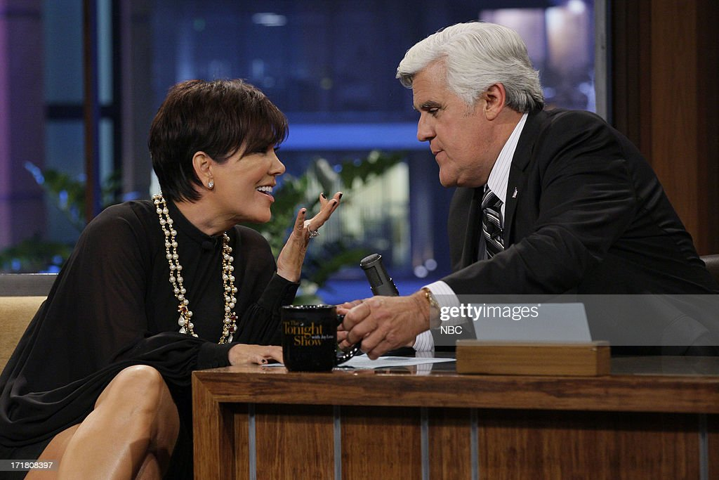 LENO -- (EXCLUSIVE COVERAGE) -- Episode 4489 -- Pictured: (l-r) <a gi-track='captionPersonalityLinkClicked' href=/galleries/search?phrase=Kris+Jenner&family=editorial&specificpeople=762610 ng-click='$event.stopPropagation()'>Kris Jenner</a> talks with host JayLeno during a commerical break on June 28, 2013 --