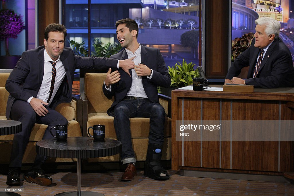 Comedian Dane Cook Producer Yaniv 'Nev' Schulman during an interview with host Jay Leno on July 9 2013