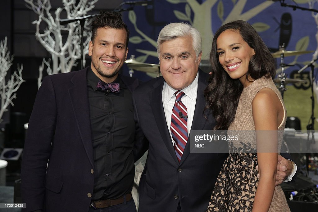 LENO -- (EXCLUSIVE COVERAGE) -- Episode 4495 -- Pictured: (l-r) Abner Ramirez, Amanda Sudano of musical guest Johnnyswimon with host Jay Leno (center) on July 15, 2013 --