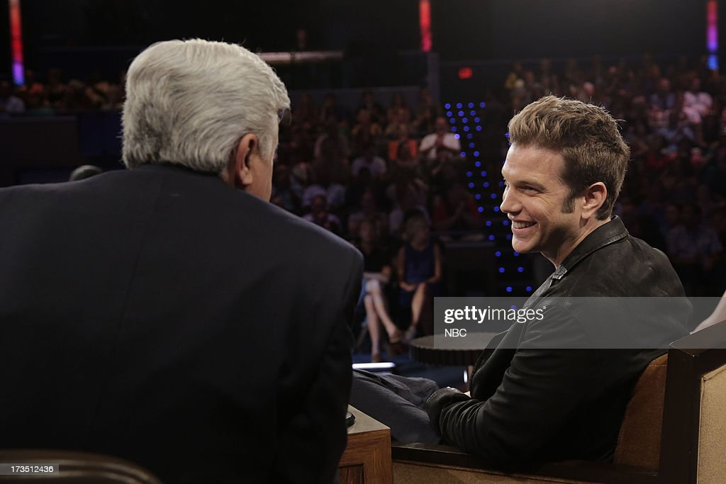 LENO -- (EXCLUSIVE COVERAGE) -- Episode 4495 -- Pictured: (l-r) Host Jay Leno talks with comedian Anthony Jeselnik during a commercial break on July 15, 2013 --