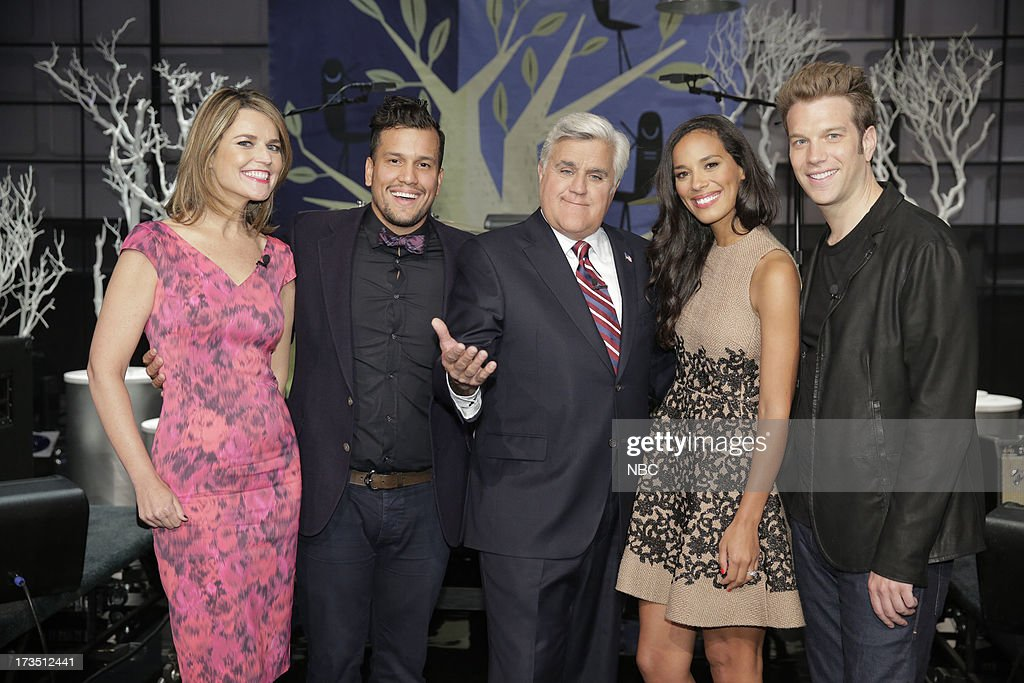 LENO -- (EXCLUSIVE COVERAGE) -- Episode 4495 -- Pictured: (l-r) <a gi-track='captionPersonalityLinkClicked' href=/galleries/search?phrase=Savannah+Guthrie&family=editorial&specificpeople=653313 ng-click='$event.stopPropagation()'>Savannah Guthrie</a>, Abner Ramirez, Amanda Sudano of musical guest Johnnyswimon, comedian Anthony Jeselnik with host Jay Leno (center) July 15, 2013 --
