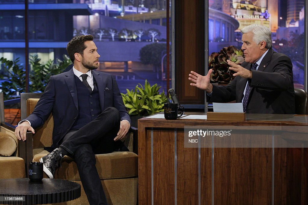 Actor <a gi-track='captionPersonalityLinkClicked' href=/galleries/search?phrase=Zachary+Levi&family=editorial&specificpeople=242766 ng-click='$event.stopPropagation()'>Zachary Levi</a> during an interview with host Jay Leno on July 16, 2013 --