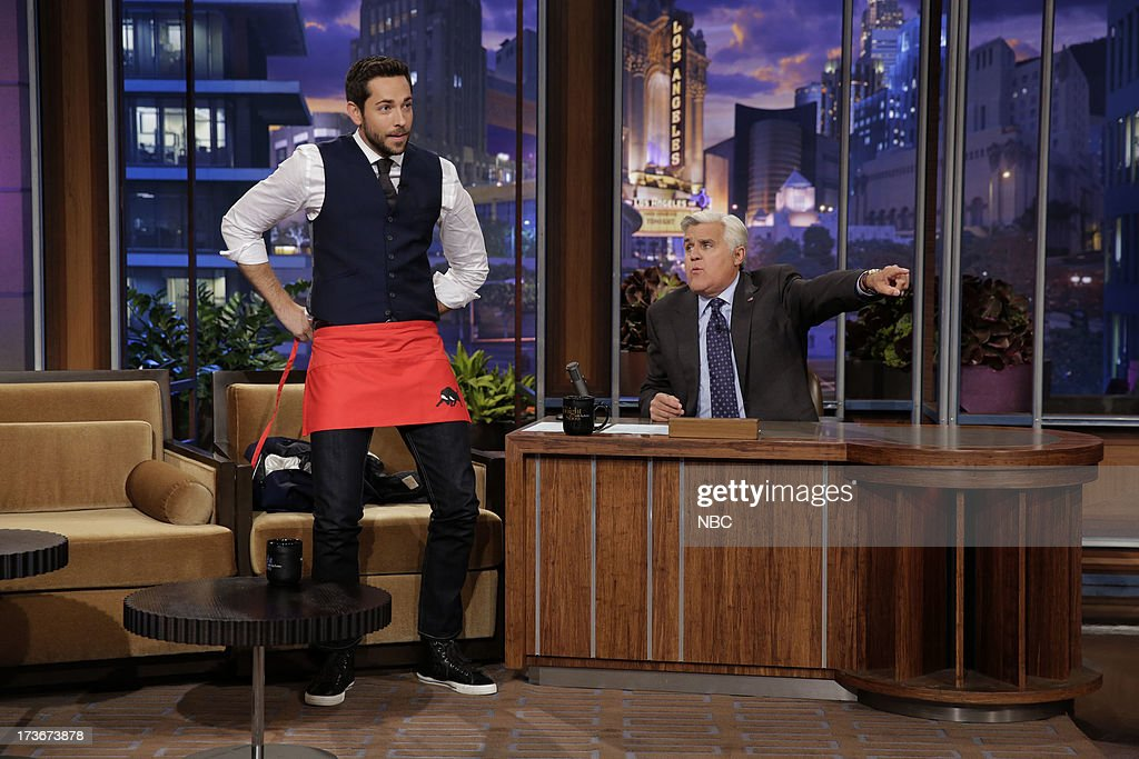 Actor Zachary Levi lives out his dream of being a waiter during an interview with host Jay Leno on July 16, 2013 --