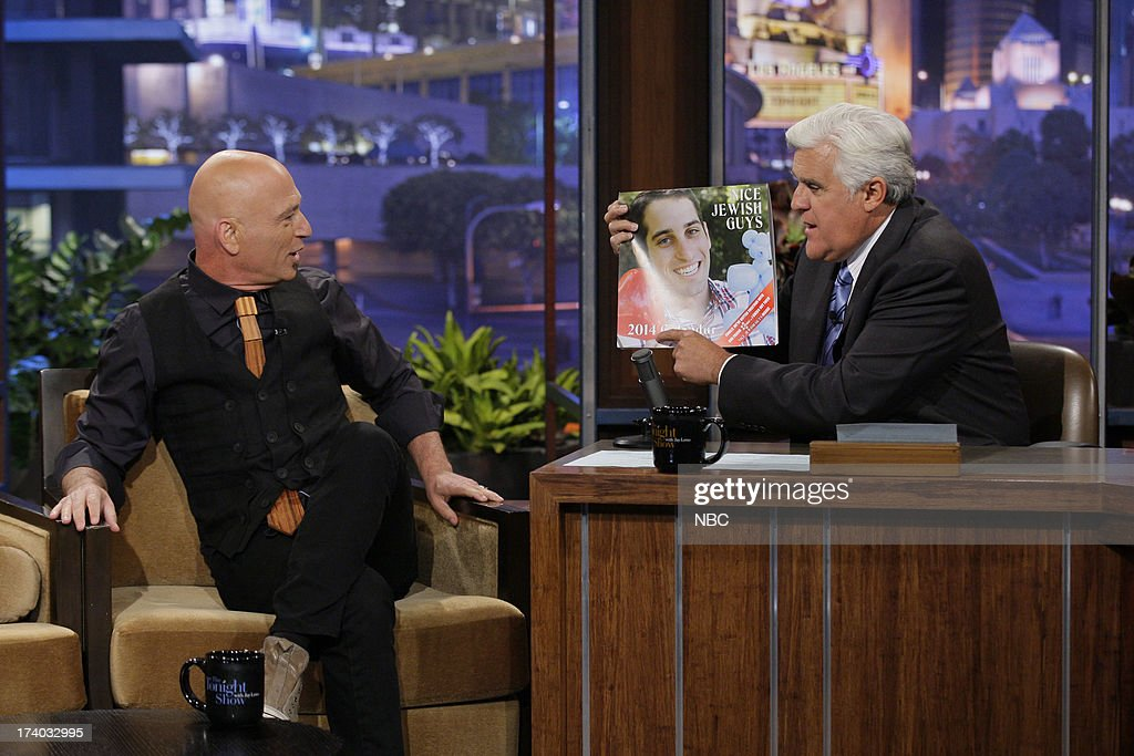 Comedian <a gi-track='captionPersonalityLinkClicked' href=/galleries/search?phrase=Howie+Mandel&family=editorial&specificpeople=595760 ng-click='$event.stopPropagation()'>Howie Mandel</a> during an interview with host Jay Leno on July 19, 2013 --