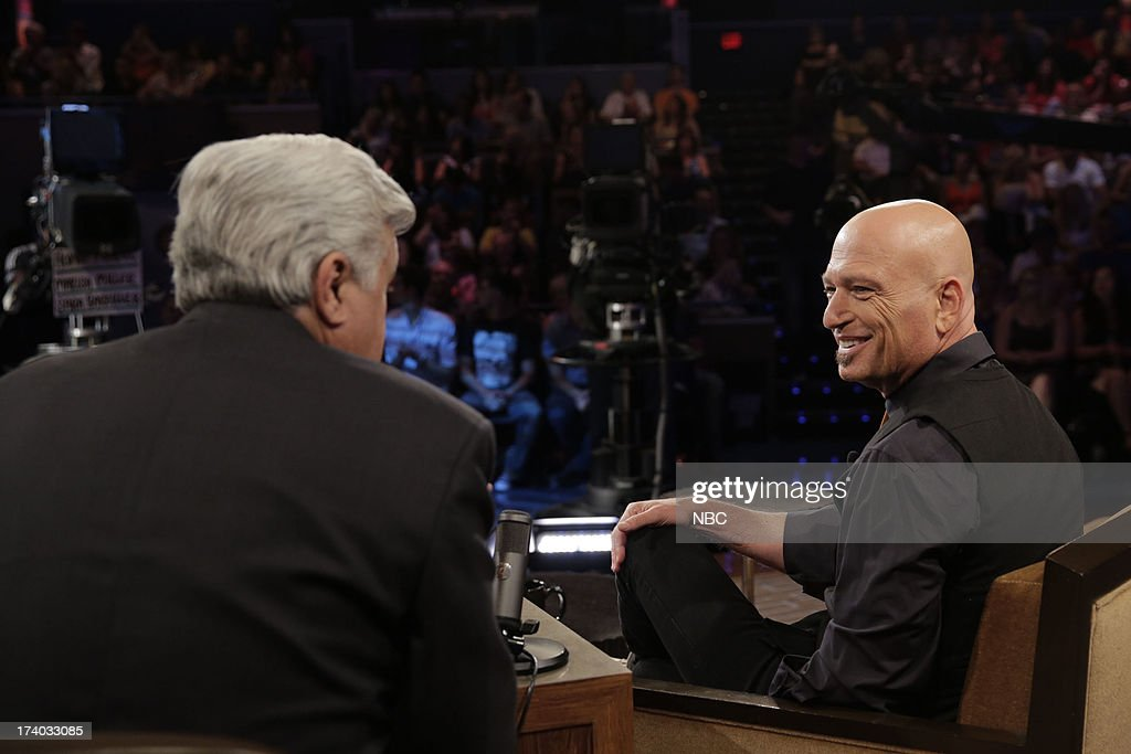 LENO -- (EXCLUSIVE COVERAGE) -- Episode 4499 -- Pictured: (l-r) Host Jay Leno talks with comedian <a gi-track='captionPersonalityLinkClicked' href=/galleries/search?phrase=Howie+Mandel&family=editorial&specificpeople=595760 ng-click='$event.stopPropagation()'>Howie Mandel</a> during a commerical break on July 19, 2013 --