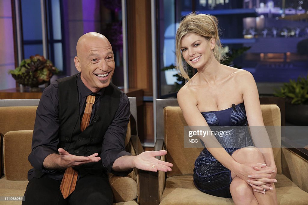 LENO -- (EXCLUSIVE COVERAGE) -- Episode 4499 -- Pictured: (l-r) Howie Mandel and supermodel Marisa Miller during a commerical break on July 19, 2013 --