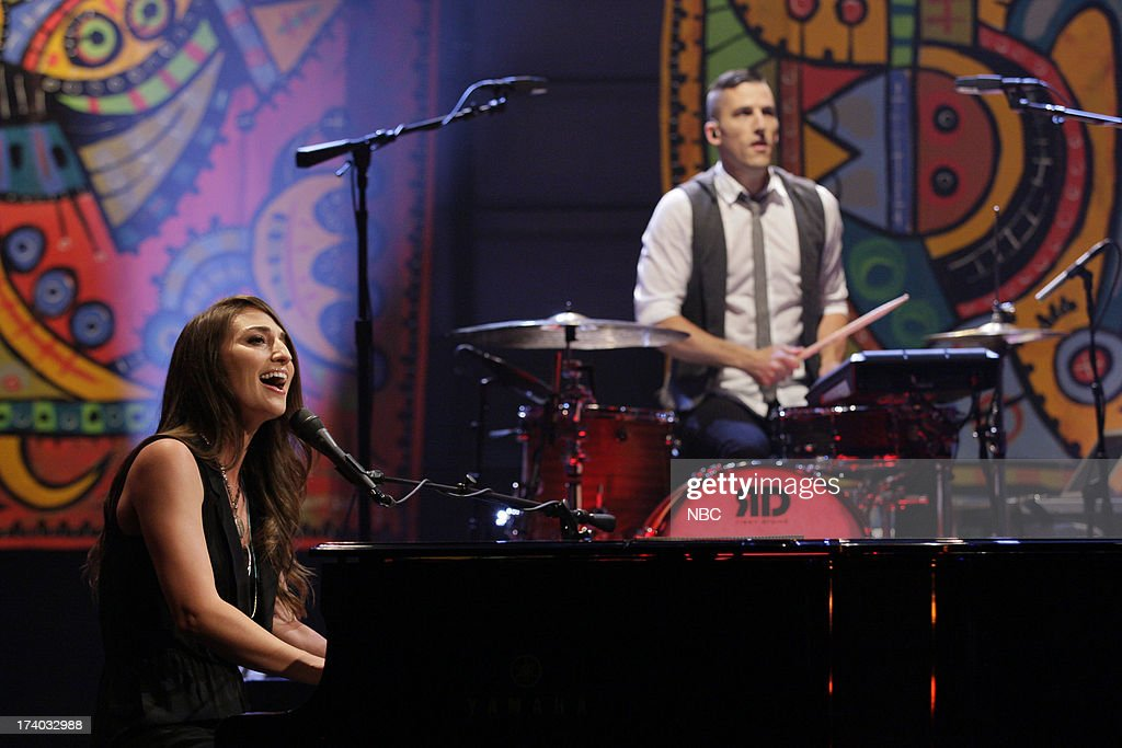 Musical guest <a gi-track='captionPersonalityLinkClicked' href=/galleries/search?phrase=Sara+Bareilles&family=editorial&specificpeople=4116387 ng-click='$event.stopPropagation()'>Sara Bareilles</a> performs on July 19, 2013 --
