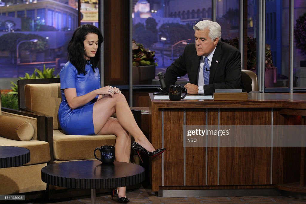 Singer <a gi-track='captionPersonalityLinkClicked' href=/galleries/search?phrase=Katy+Perry&family=editorial&specificpeople=599558 ng-click='$event.stopPropagation()'>Katy Perry</a> during an interview with host Jay Leno on July 23, 2013 --