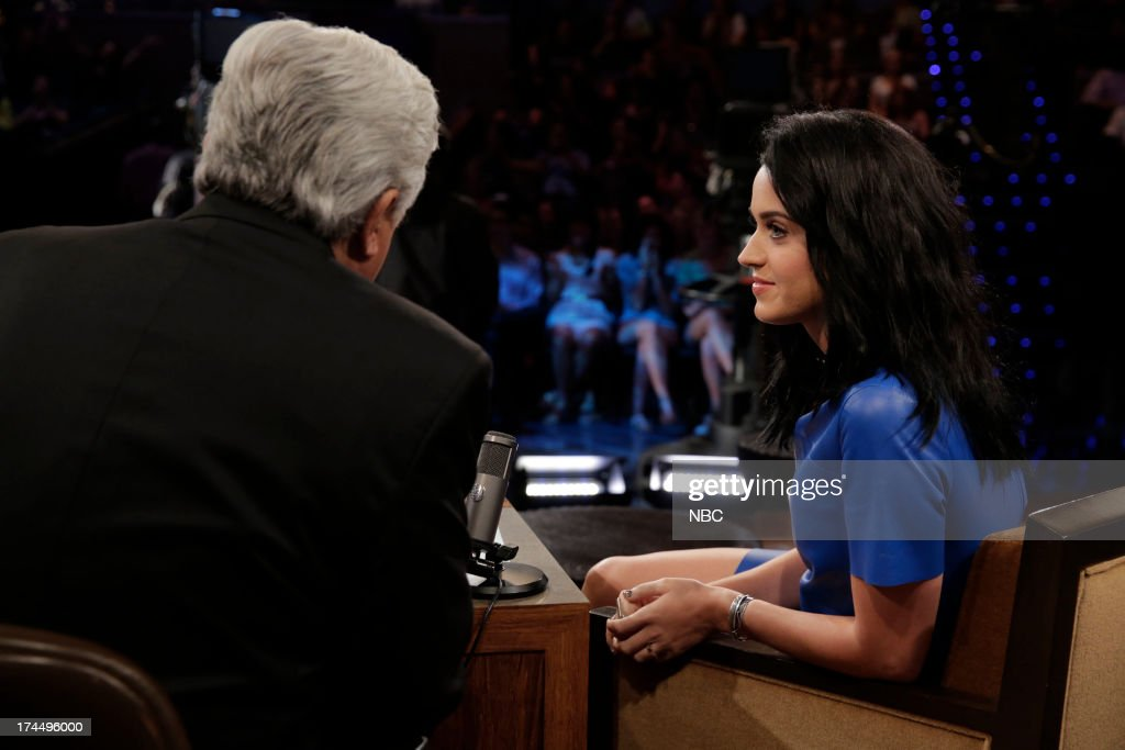 LENO -- (EXCLUSIVE COVERAGE) -- Episode 4504 -- Pictured: (l-r) Host Jay Leno talks with singer <a gi-track='captionPersonalityLinkClicked' href=/galleries/search?phrase=Katy+Perry&family=editorial&specificpeople=599558 ng-click='$event.stopPropagation()'>Katy Perry</a> during a commercial break on July 26, 2013 --