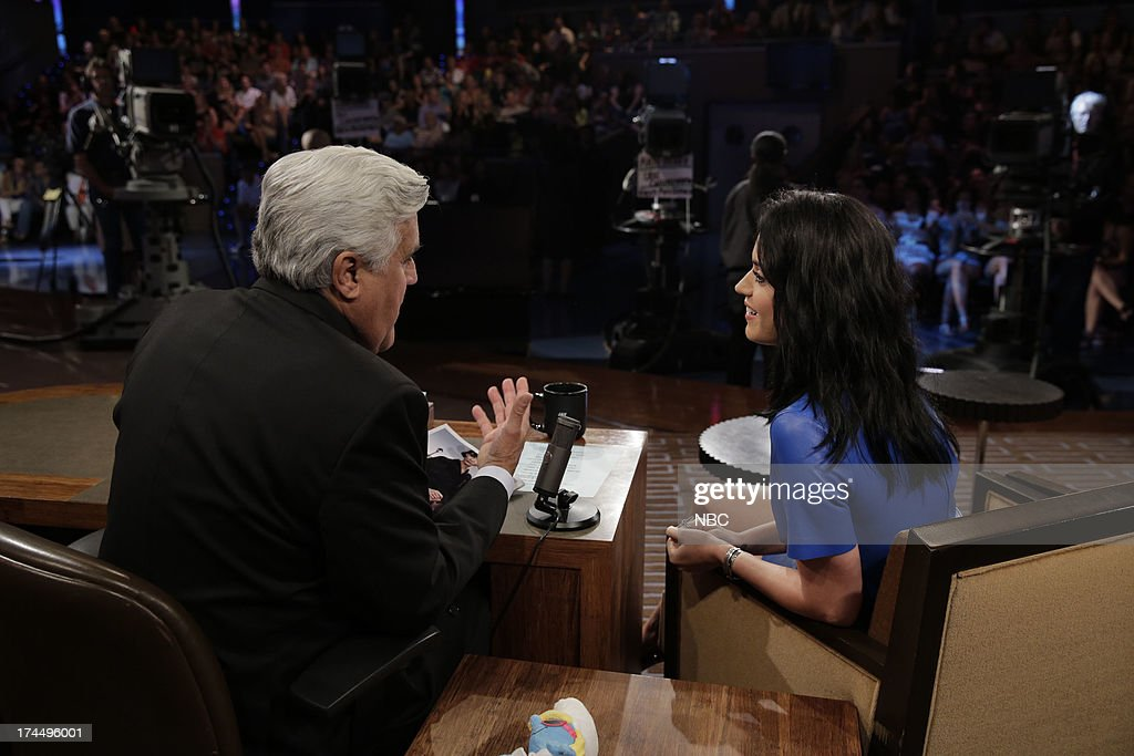 LENO -- (EXCLUSIVE COVERAGE) -- Episode 4504 -- Pictured: (l-r) Host Jay Leno talks with singer Katy Perry during a commercial break on July 26, 2013 --