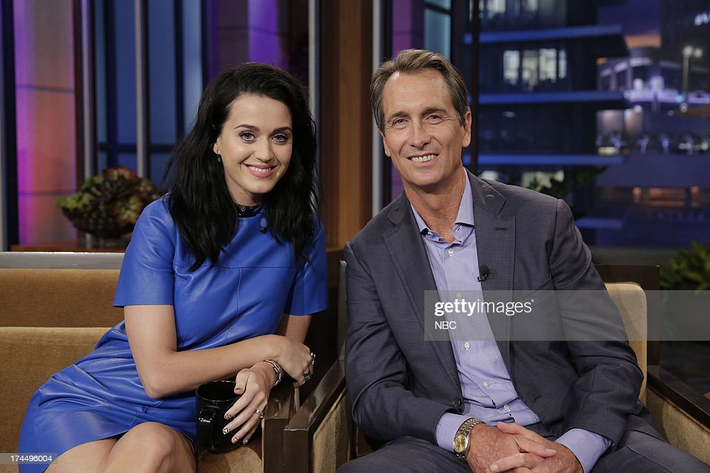 LENO -- (EXCLUSIVE COVERAGE) -- Episode 4504 -- Pictured: (l-r) Singer <a gi-track='captionPersonalityLinkClicked' href=/galleries/search?phrase=Katy+Perry&family=editorial&specificpeople=599558 ng-click='$event.stopPropagation()'>Katy Perry</a> and sportscaster <a gi-track='captionPersonalityLinkClicked' href=/galleries/search?phrase=Cris+Collinsworth&family=editorial&specificpeople=745575 ng-click='$event.stopPropagation()'>Cris Collinsworth</a> during a commerical break on July 26, 2013 --