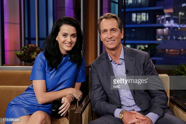 LENO Episode 4504 Pictured Singer Katy Perry and sportscaster Cris Collinsworth during a commerical break on July 26 2013