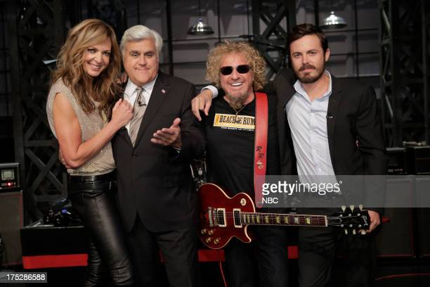 LENO Episode 4508 Pictured Actress Allison Janney host Jay Leno musical guest Sammy Hagar and actor Casey Affleck on August 1 2013