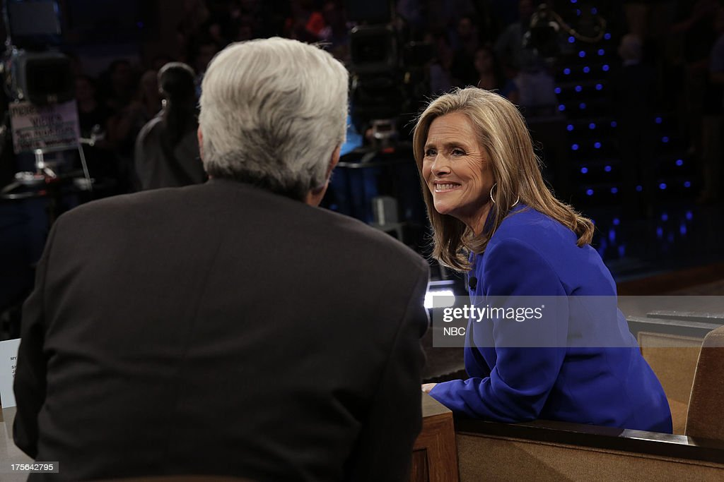 LENO -- (EXCLUSIVE COVERAGE) -- Episode 4509 -- Pictured: (l-r) Host Jay Leno talks with Meredith Vieira during a commerial break on August 2, 2013 --