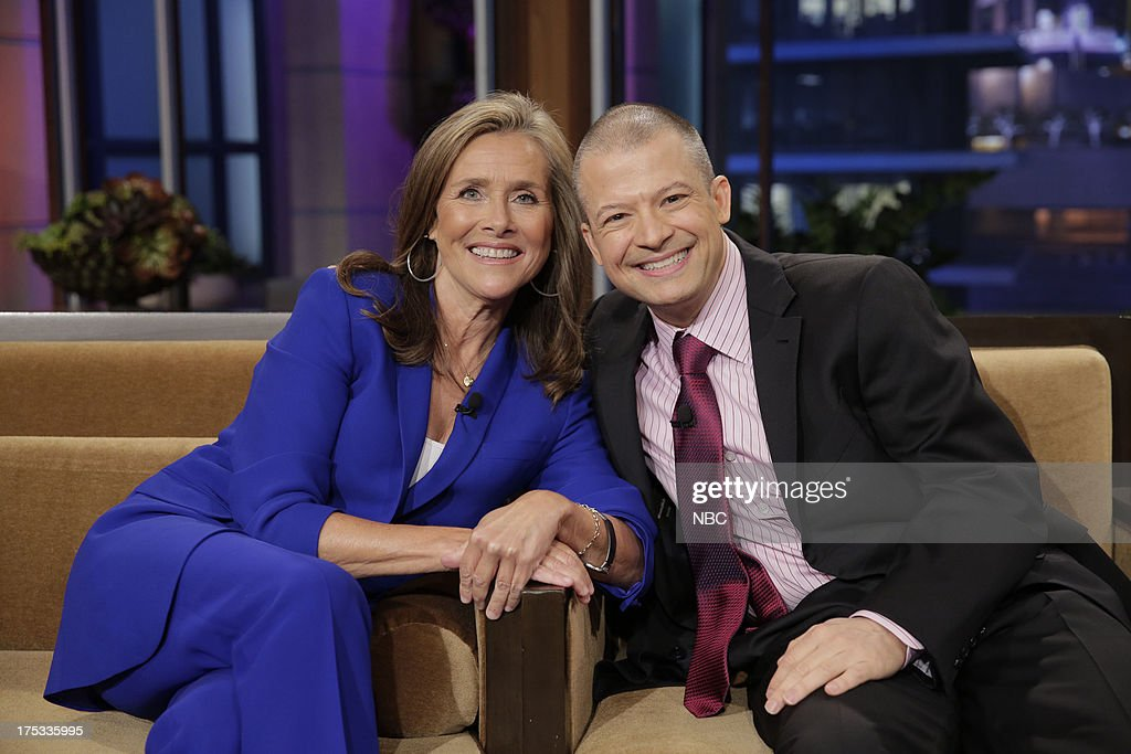 LENO -- (EXCLUSIVE COVERAGE) -- Episode 4509 -- Pictured: (l-r) <a gi-track='captionPersonalityLinkClicked' href=/galleries/search?phrase=Meredith+Vieira&family=editorial&specificpeople=217718 ng-click='$event.stopPropagation()'>Meredith Vieira</a> and comedian Jim Norton during a commerical break on August 2, 2013 --
