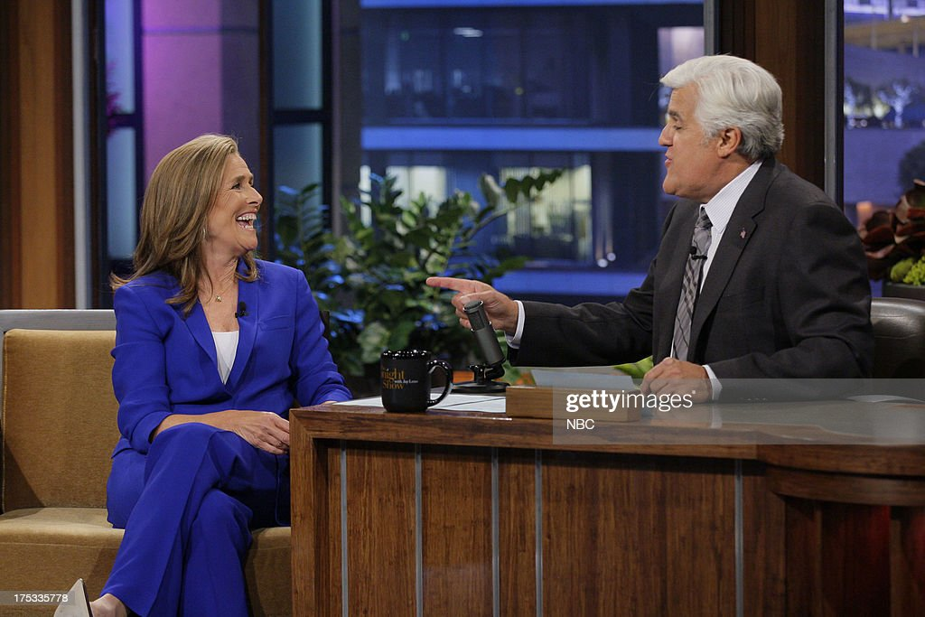 <a gi-track='captionPersonalityLinkClicked' href=/galleries/search?phrase=Meredith+Vieira&family=editorial&specificpeople=217718 ng-click='$event.stopPropagation()'>Meredith Vieira</a> during an interview with host Jay Leno on August 2, 2013 --