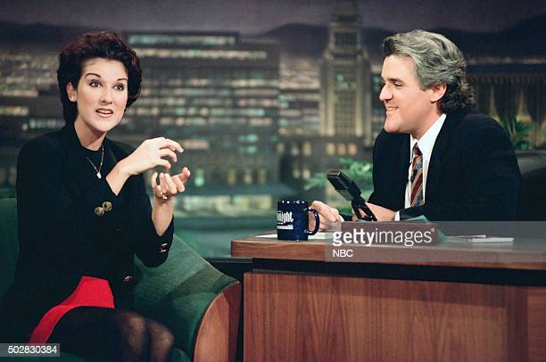 Musical guest Celine Dion during an interview with host Jay Leno on May 4 1994