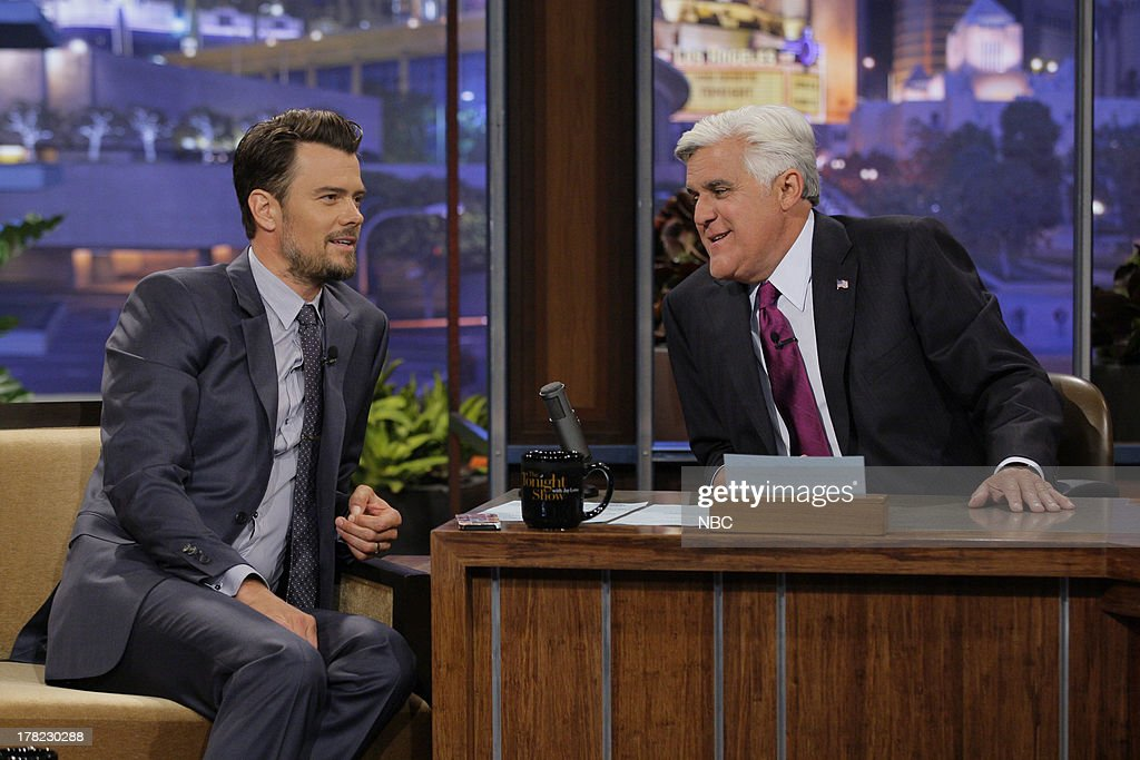 Actor <a gi-track='captionPersonalityLinkClicked' href=/galleries/search?phrase=Josh+Duhamel&family=editorial&specificpeople=208740 ng-click='$event.stopPropagation()'>Josh Duhamel</a> during an interview with host Jay Leno on August 27, 2013 --