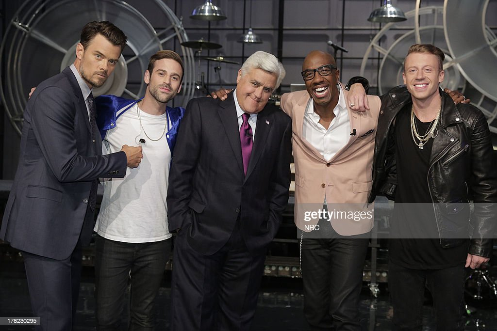 LENO -- (EXCLUSIVE COVERAGE) -- Episode 4517 -- Pictured: (l-r) Actor <a gi-track='captionPersonalityLinkClicked' href=/galleries/search?phrase=Josh+Duhamel&family=editorial&specificpeople=208740 ng-click='$event.stopPropagation()'>Josh Duhamel</a>, Ryan Lewis, host Jay Leno, comeidan JB Smooth and musical guest <a gi-track='captionPersonalityLinkClicked' href=/galleries/search?phrase=Macklemore&family=editorial&specificpeople=7639427 ng-click='$event.stopPropagation()'>Macklemore</a> on August 27, 2013 --