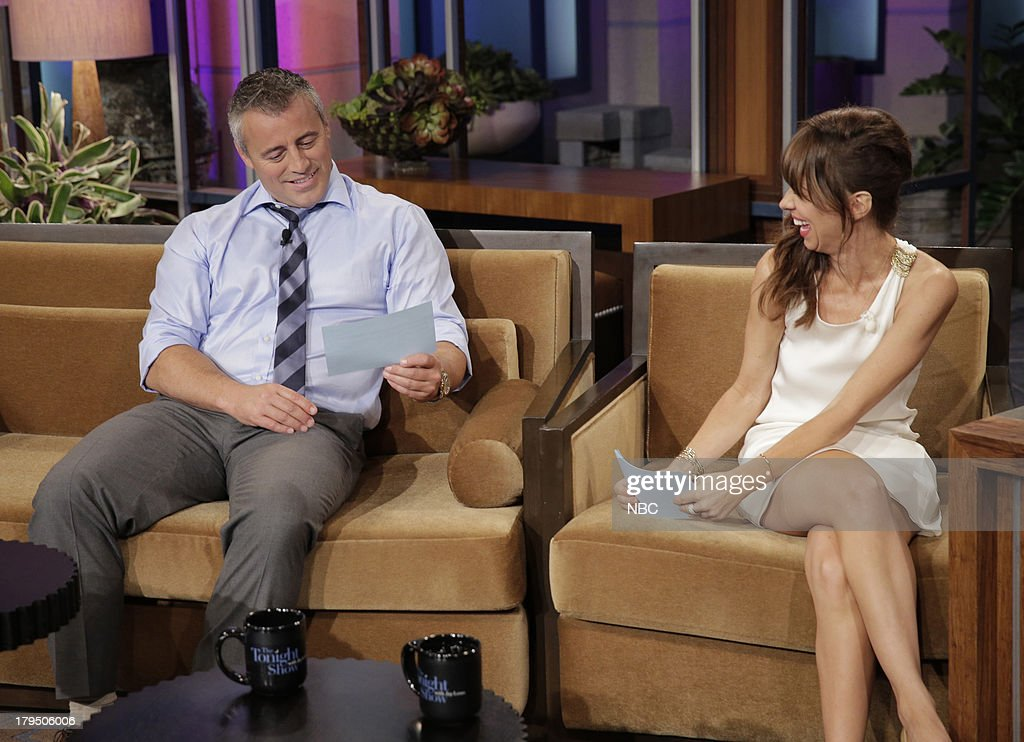 LENO -- (EXCLUSIVE COVERAGE) Episode 4517 -- Pictured: (l-r) Actor Matt LeBlanc talks with comedian Natasha Leggero during a commercial break on August 28, 2013 --