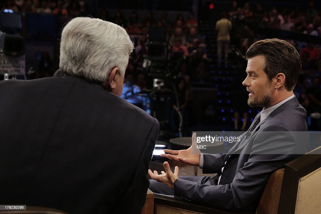 LENO -- (EXCLUSIVE COVERAGE) -- Episode 4517 -- Pictured: (l-r) Host Jay Leno talks with actor <a gi-track='captionPersonalityLinkClicked' href=/galleries/search?phrase=Josh+Duhamel&family=editorial&specificpeople=208740 ng-click='$event.stopPropagation()'>Josh Duhamel</a> during a commerical break on August 27, 2013 --