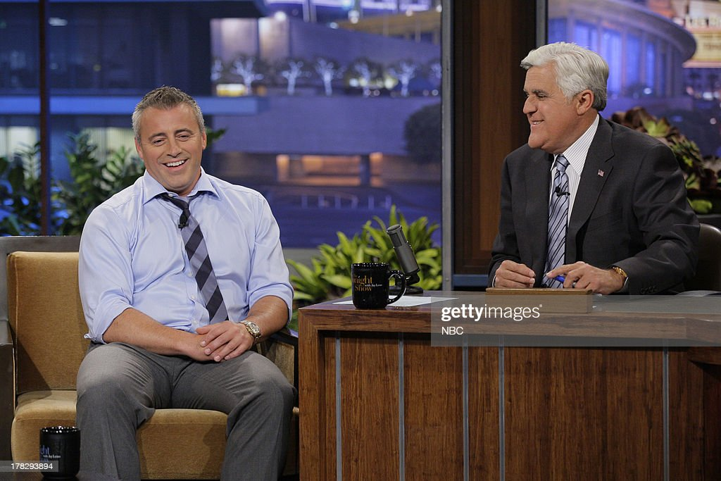 Actor <a gi-track='captionPersonalityLinkClicked' href=/galleries/search?phrase=Matt+LeBlanc&family=editorial&specificpeople=204471 ng-click='$event.stopPropagation()'>Matt LeBlanc</a> during an interview with host Jay Leno on August 28, 2013 --