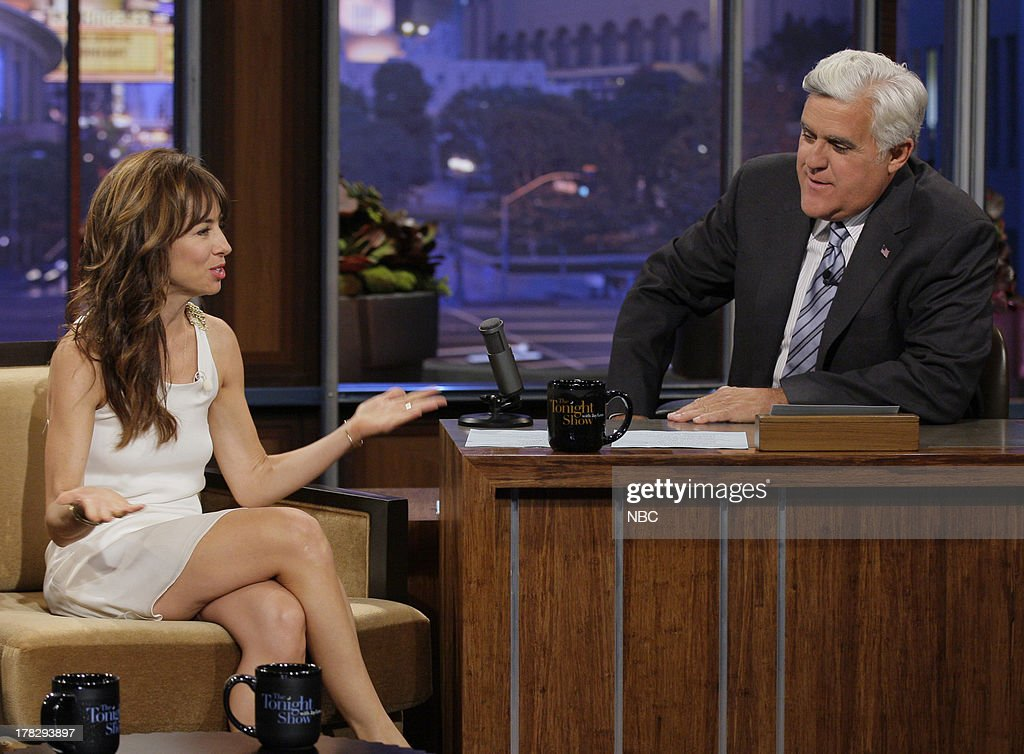 Comedian <a gi-track='captionPersonalityLinkClicked' href=/galleries/search?phrase=Natasha+Leggero&family=editorial&specificpeople=4760301 ng-click='$event.stopPropagation()'>Natasha Leggero</a> during an interview with host Jay Leno on August 28, 2013 --