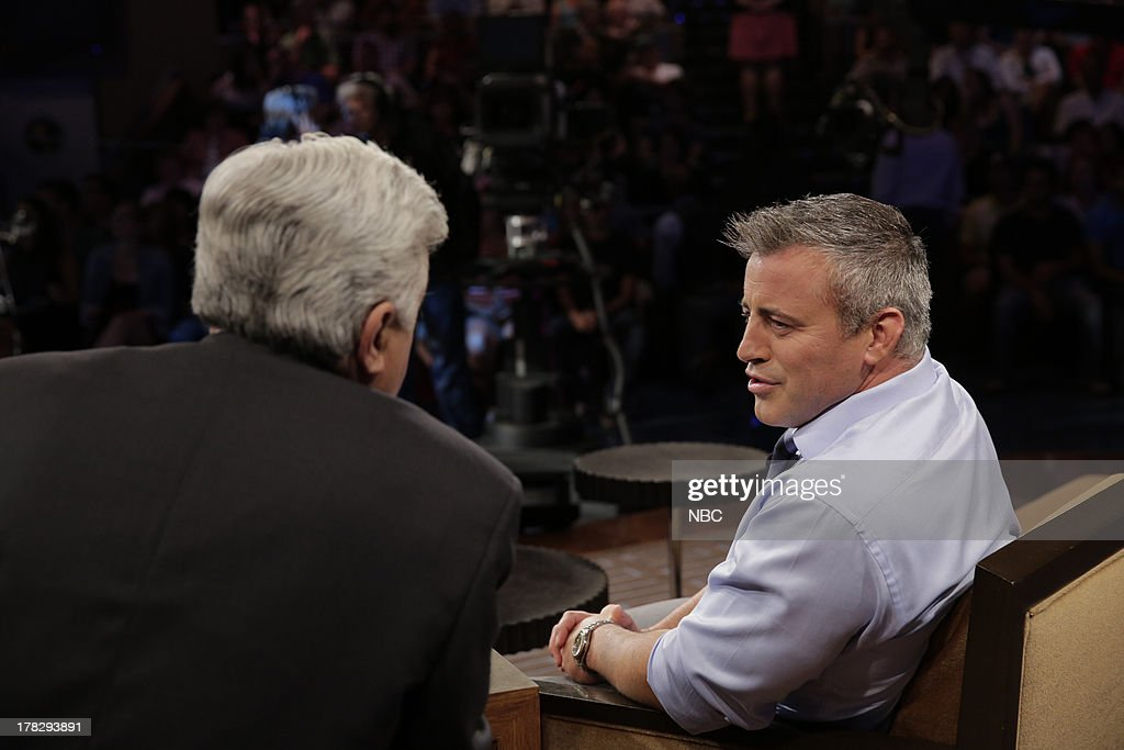 LENO -- (EXCLUSIVE COVERAGE) Episode 4518 -- Pictured: (l-r) Host Jay Leno talks with Actor <a gi-track='captionPersonalityLinkClicked' href=/galleries/search?phrase=Matt+LeBlanc&family=editorial&specificpeople=204471 ng-click='$event.stopPropagation()'>Matt LeBlanc</a> during a commercial break on August 28, 2013 --
