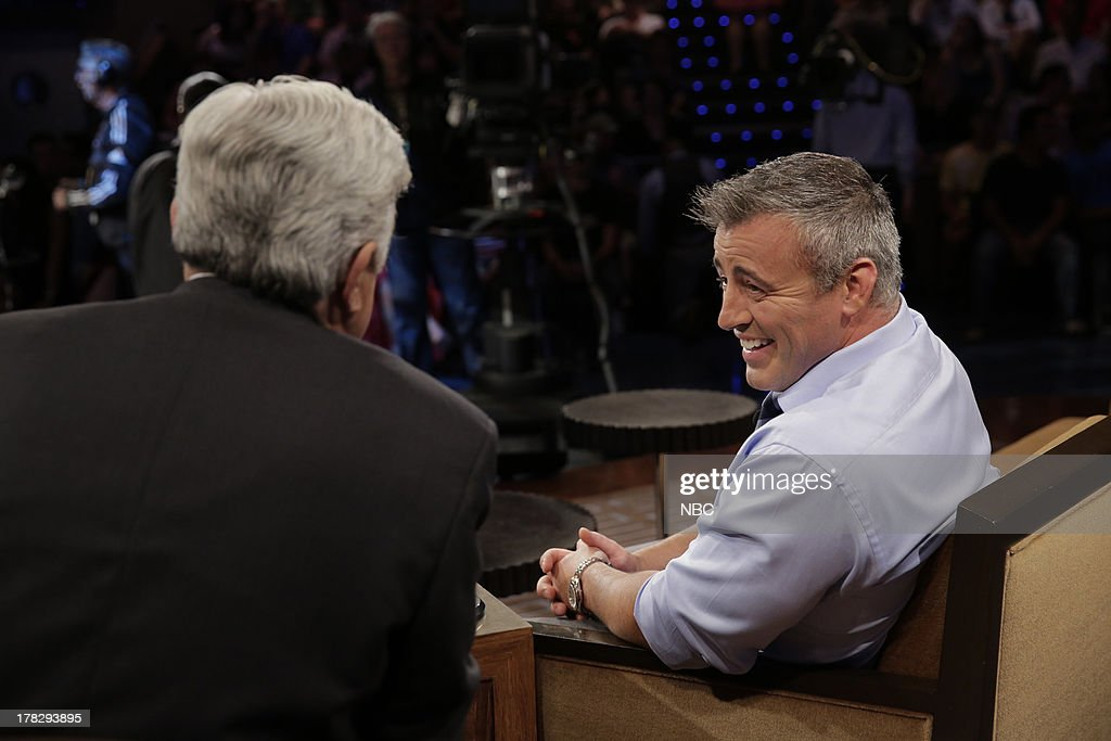 LENO -- (EXCLUSIVE COVERAGE) Episode 4518 -- Pictured: (l-r) Host Jay Leno talks with Actor Matt LeBlanc during a commercial break on August 28, 2013 --
