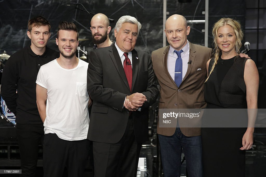 LENO Episode 4521 Pictured Jack LawrenceBrown Harry McVeigh and Charles Cave of musical guest White Lies with host Jay Leno actor Rob Corddry and...