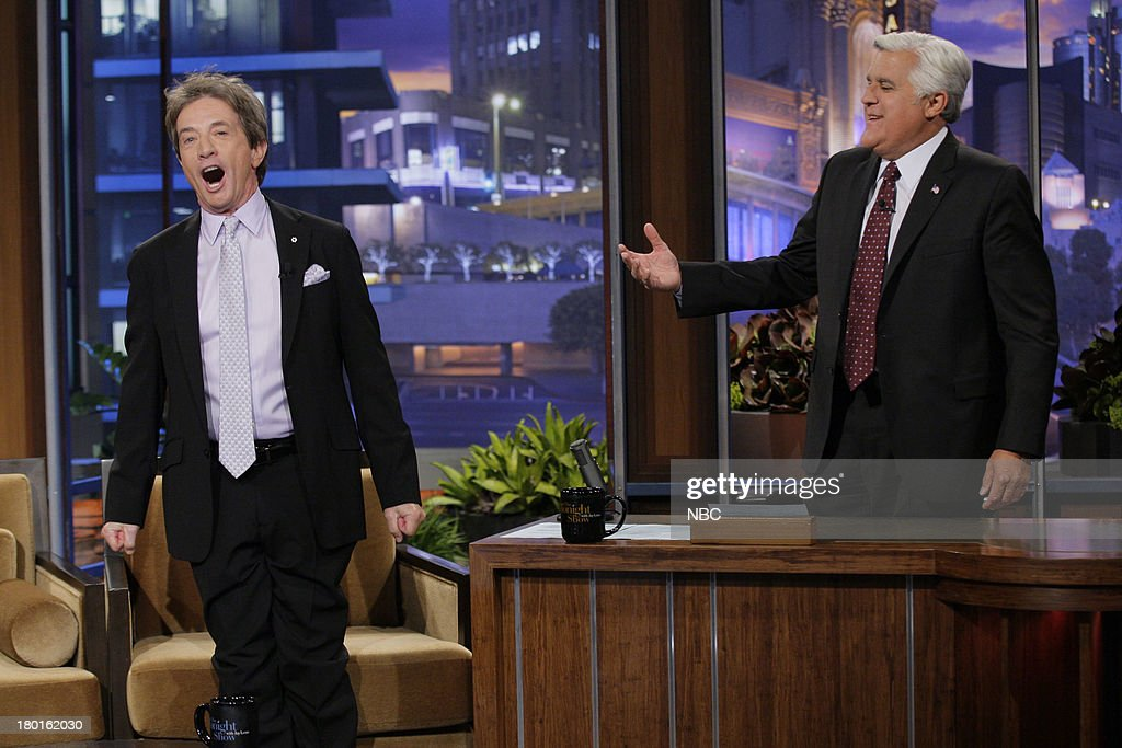 Actor <a gi-track='captionPersonalityLinkClicked' href=/galleries/search?phrase=Martin+Short&family=editorial&specificpeople=211569 ng-click='$event.stopPropagation()'>Martin Short</a> during an interview with host Jay Leno on September 9, 2013 --