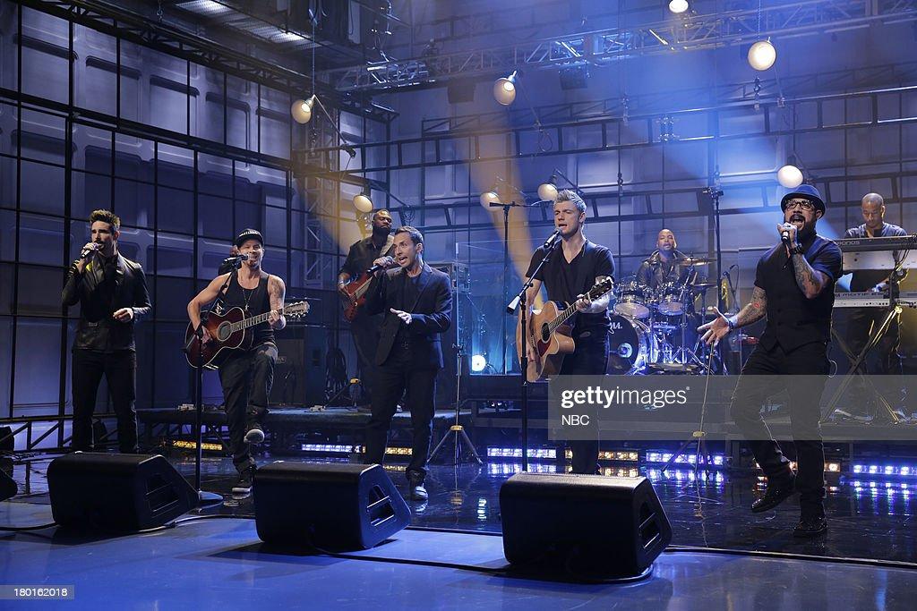 Kevin Richardson, Brian Littrell, Howie Dorough, Nick Carter, A. J. McLean of musical guest The Backstreet Boys perform on September 9, 2013 --