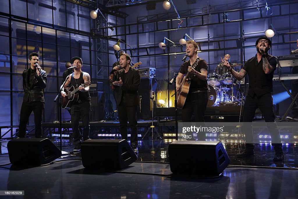 Kevin Richardson, Brian Littrell, Howie Dorough, Nick Carter, A. J. McLean of musical guest The Backstreet Boys perform on September 9, 2013 --