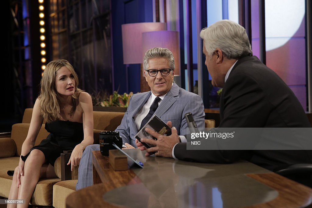 LENO -- Episode 4525 -- (EXCLUSIVE COVERAGE) -- Pictured: (l-r) Actress <a gi-track='captionPersonalityLinkClicked' href=/galleries/search?phrase=Rose+Byrne&family=editorial&specificpeople=206670 ng-click='$event.stopPropagation()'>Rose Byrne</a>, <a gi-track='captionPersonalityLinkClicked' href=/galleries/search?phrase=Donny+Deutsch&family=editorial&specificpeople=642511 ng-click='$event.stopPropagation()'>Donny Deutsch</a> and host Jay Leno talk during a commercial break on September 10, 2013 --
