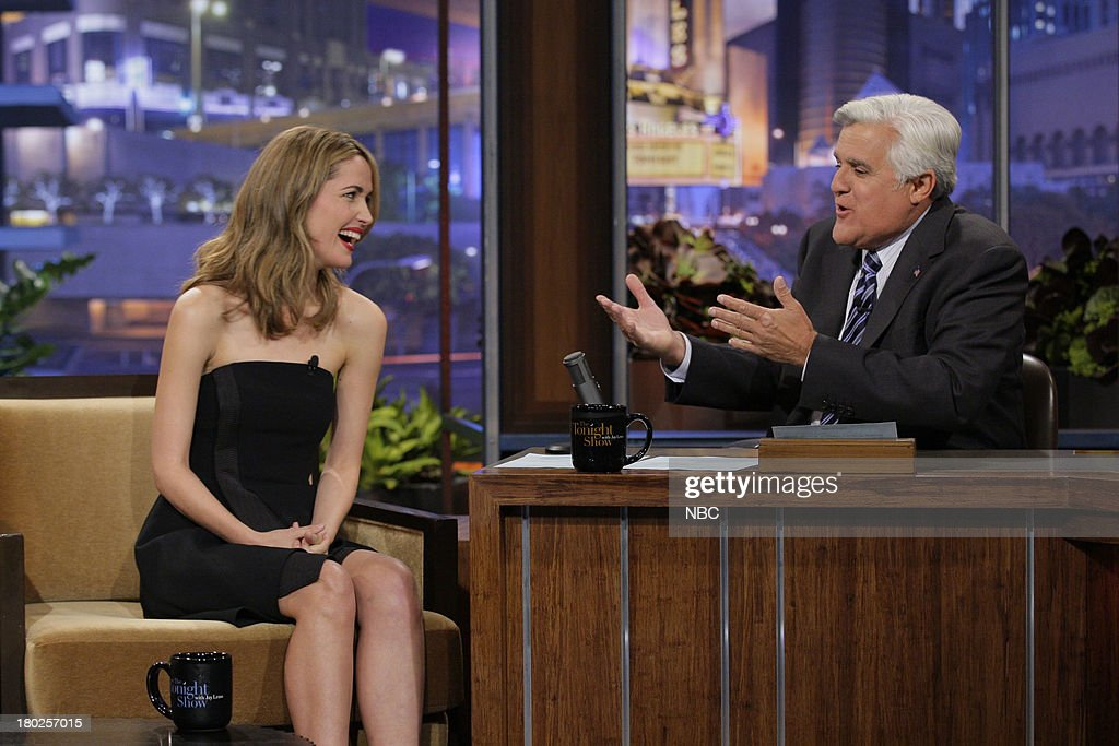Actress <a gi-track='captionPersonalityLinkClicked' href=/galleries/search?phrase=Rose+Byrne&family=editorial&specificpeople=206670 ng-click='$event.stopPropagation()'>Rose Byrne</a> during an interview with host Jay Leno on September 10, 2013 --