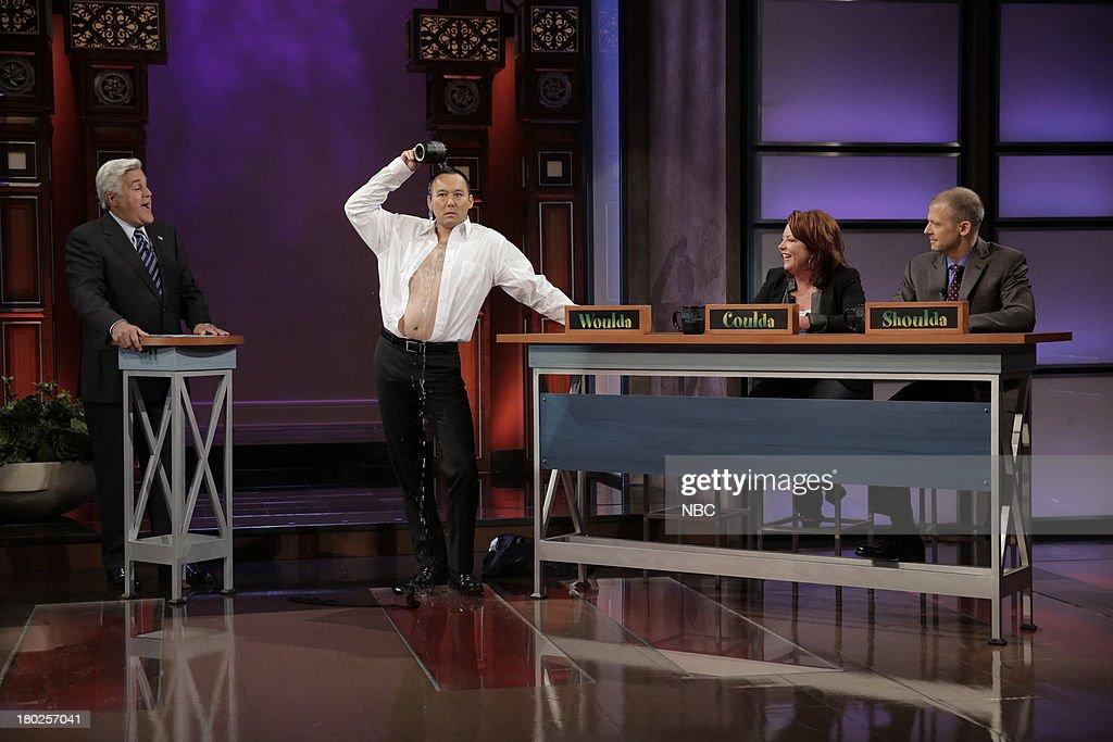 Host Jay Leno, Steve Byrne, Kathleen Madigan and Jim Norton during the 'Woulda, Coulda, Shoulda' segment on September 10, 2013 --